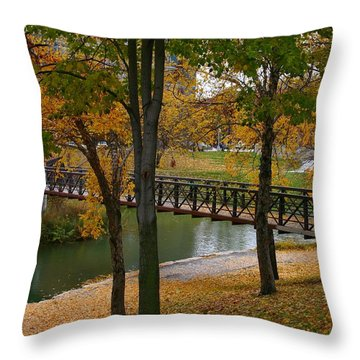 Throw Pillow featuring the photograph Bridge To Fall by Elizabeth Winter