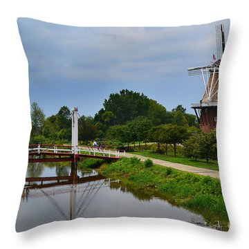 Bridge To Holland Windmill Throw Pillow