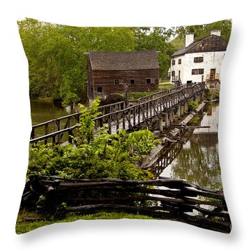 Throw Pillow featuring the photograph Bridge To Philipsburg Manor Mill House by Jerry Cowart
