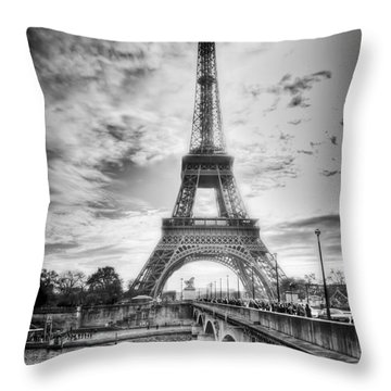 Bridge To The Eiffel Tower Throw Pillow