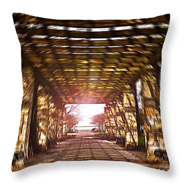 Throw Pillow featuring the photograph Bridge To The Light From The Series The Imprint Of Man In Nature by Verana Stark