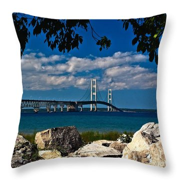 Bridge To The U.p. Throw Pillow by Nick Zelinsky