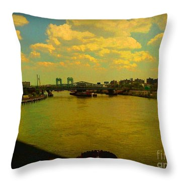 Throw Pillow featuring the photograph Bridge With Puffy Clouds by Miriam Danar