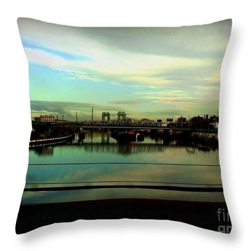 Throw Pillow featuring the photograph Bridge With White Clouds by Miriam Danar