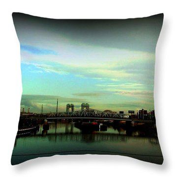 Throw Pillow featuring the photograph Bridge With White Clouds Vignette by Miriam Danar