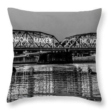Throw Pillow featuring the photograph Trenton Makes Bridge by Louis Dallara