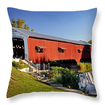 Bridgeton Covered Bridge 3 Throw Pillow by Marty Koch