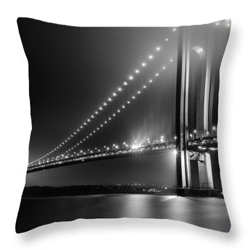 Bridging Verrazano Narrows Throw Pillow by Mihai Andritoiu