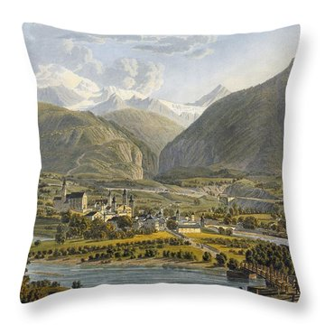 Brig On The Rhone, Bernese Alps Throw Pillow by Swiss School