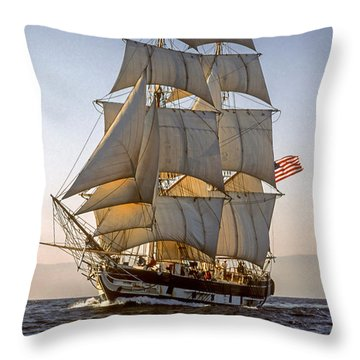 Brig Pilgrim Off Santa Barbara Throw Pillow