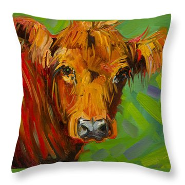 Bright And Beautiful Cow Throw Pillow