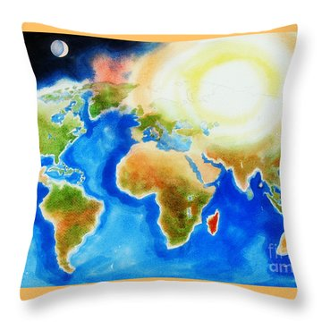 Bright Blue World Map In Watercolor With Sunshine And Moon  Throw Pillow by Kip DeVore