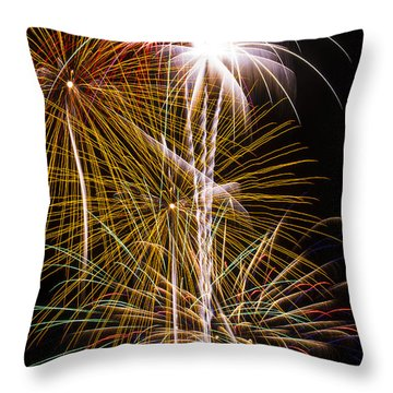 Bright Bursts Of Fireworks Throw Pillow by Garry Gay