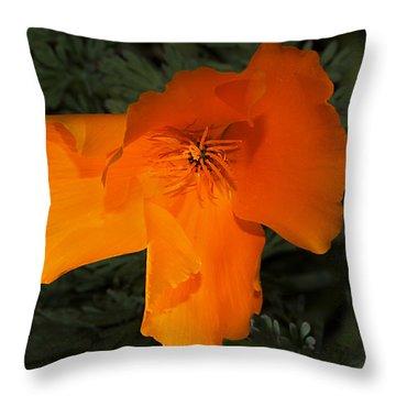 Bright California Poppy Throw Pillow
