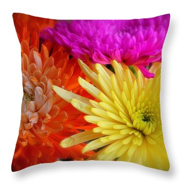Bright Chrysanthemums Throw Pillow