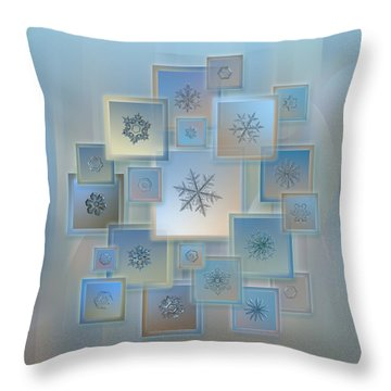 Snowflake Collage - Bright Crystals 2012-2014 Throw Pillow