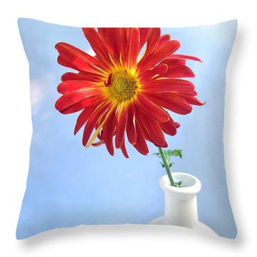 Bright Day Daisy Throw Pillow by Louise Kumpf
