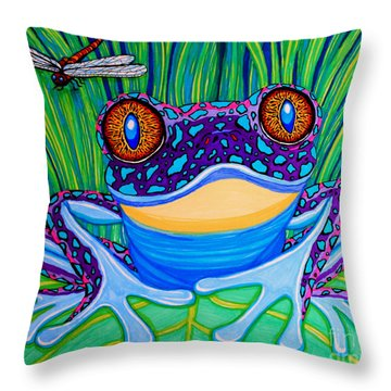Bright Eyed Frog Throw Pillow
