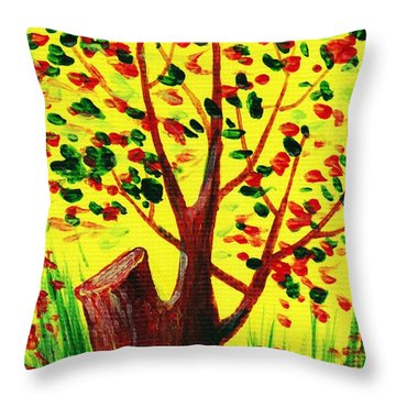 Bright Fall Throw Pillow by Anastasiya Malakhova
