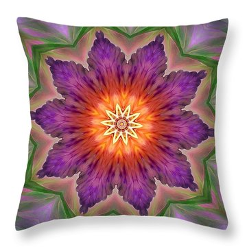 Throw Pillow featuring the digital art Bright Flower by Lilia D