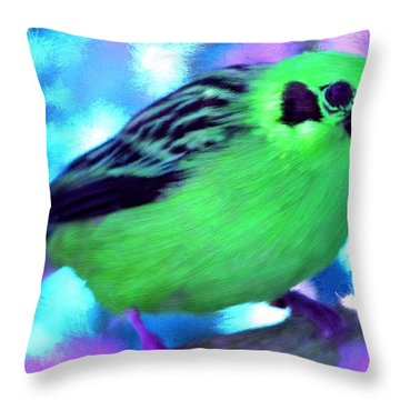 Bright Green Finch Throw Pillow by Bruce Nutting