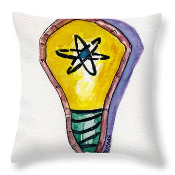 Throw Pillow featuring the painting Bright Idea by Julie Maas