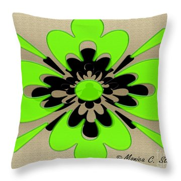 Bright Light Green On Gold Floral Design Throw Pillow