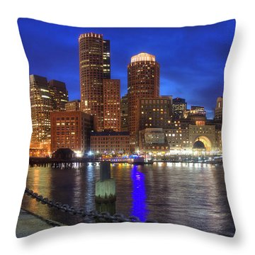 Bright Lights Boston Throw Pillow by Joann Vitali