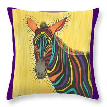 Throw Pillow featuring the painting Bright Lite African Zebra  by Susie Weber