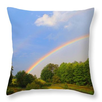Throw Pillow featuring the photograph Bright Rainbow by Kathryn Meyer