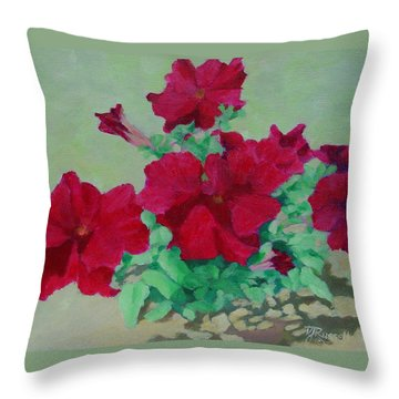 Red Flowers Art Brilliant Petunias Bright Floral  Throw Pillow