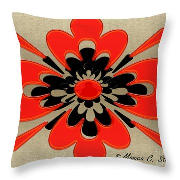 Bright Red On Gold Floral Throw Pillow