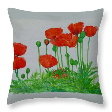 Red Poppies Colorful Flowers Original Art Painting Floral Garden Decor Artist K Joann Russell Throw Pillow