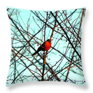 Bright Red Robin Throw Pillow