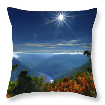 Bright Sun In Morning Cheat River Gorge Throw Pillow