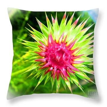 Brighter Pineapple Flower Throw Pillow by Tina M Wenger