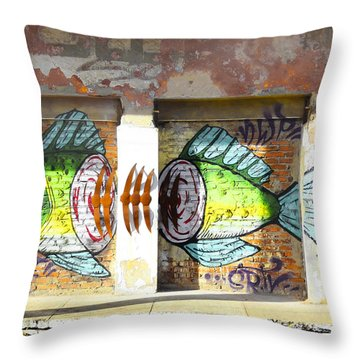 Brightly Colored Fish Mural Throw Pillow