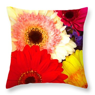 Brightly Colored Gerbers Throw Pillow