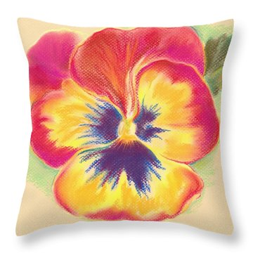 Throw Pillow featuring the pastel Brightly Colored Pansy by MM Anderson