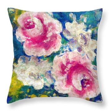 Brightly Floral Throw Pillow by Susan Leggett