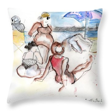 Brighton Beach On A Windy Day Throw Pillow