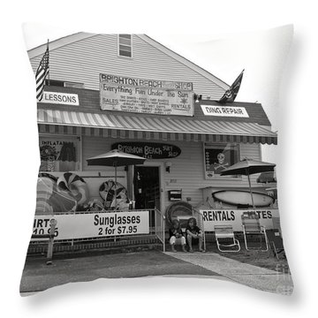 Brighton Beach Surf Shop Throw Pillow