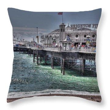 Brighton Pier Throw Pillow by Jasna Buncic