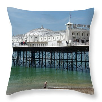 Throw Pillow featuring the photograph Brighton Pier - Sussex By The Sea by Phil Banks