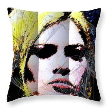 Throw Pillow featuring the digital art Brigitte Bardot by Daniel Janda