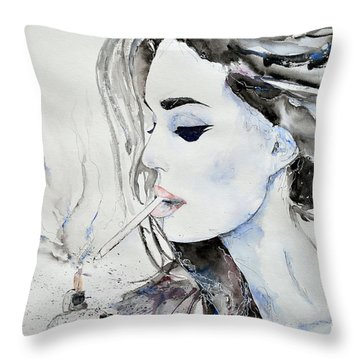Throw Pillow featuring the painting Brigitte Bardot by Ismeta Gruenwald