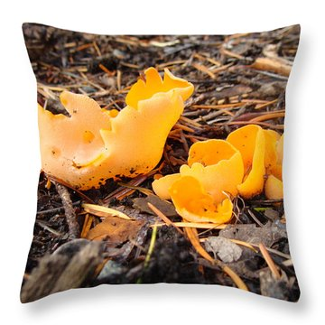 Brilliance In Orange Throw Pillow by Cheryl Hoyle