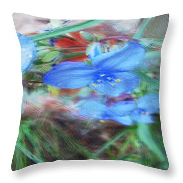 Throw Pillow featuring the photograph Brilliant Blue Flowers by Cathy Anderson
