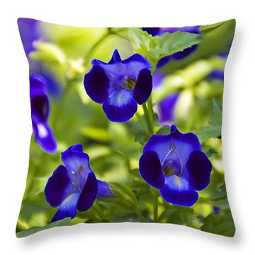 Brilliant Blues  Throw Pillow by Walter Herrit