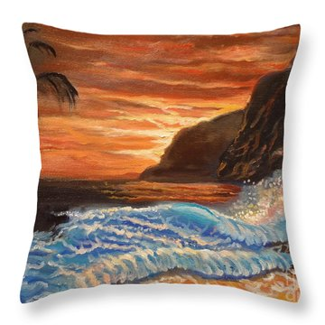 Brilliant Hawaiian Sunset 1 Throw Pillow